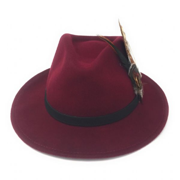 Womens  Wool Burgundy Fedora Hat with Leather Belt Trim and Country Feather Brooch - Naunton